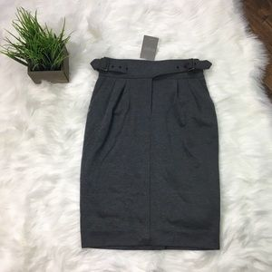 Maeve Cinched Ponte Pencil Skirt Grey 4